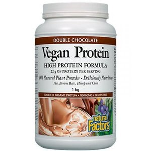 Natural Factors- VEGAN PROTEIN - 1KG POWDER (DOUBLE CHOCOLATE)